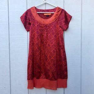Cynthia Steffe orange Red Dress 100% Silk